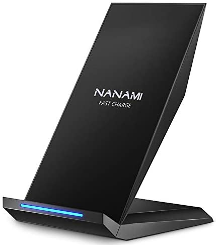 Fast Wireless Charger, NANAMI Qi Certified Wireless Charging Stand Compatible iPhone 12/SE 2020/11 Pro/XS Max/XR/X/8 Plus,Samsung Galaxy S20+ S10 S9 S8 S7 Edge Note 20Ultra/10/9/8 and Qi-Enabled Phone