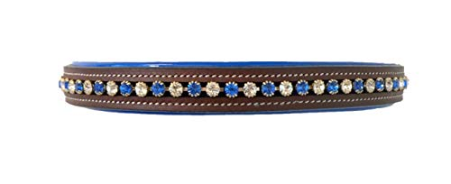 - Equitem Horse Size Leather English Bridle Blue Padded Browband with Blue and Clear Round Crystals (Brown)