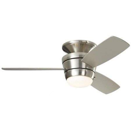 44 Mazon LED Indoor Flush Mount Ceiling Fan Remote Nickel