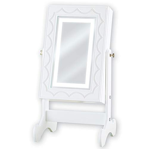Collections Etc Lighted Velvet Lined Jewelry Box with White Framed Mirror with Scroll Design