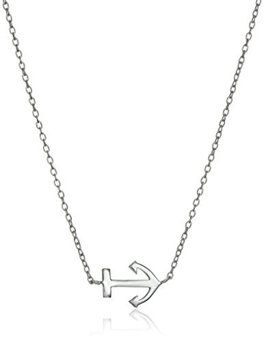 Sterling Silver Anchor Necklace and Earrings Jewelry Set, 18""