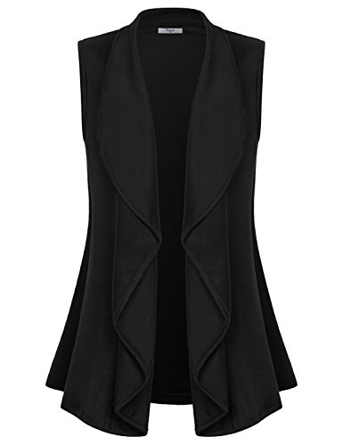 Collar Cotton Women Poncho - Cestyle Sleeveless Open Front Cardigan, Women's Lapel Collar Drape Vest Sweater Office Casual Knit Ponchos Business Casual Clothing Black Medium
