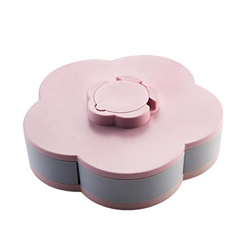 (Bloom Rotating Snack Box, Flower Design Candy Food Storage Box Jewelry Organizer,Dried Fruit Melon Seeds Compartment Snack Tray,Non-slip Silicone Bottom,Mobile Phone Stand Function)