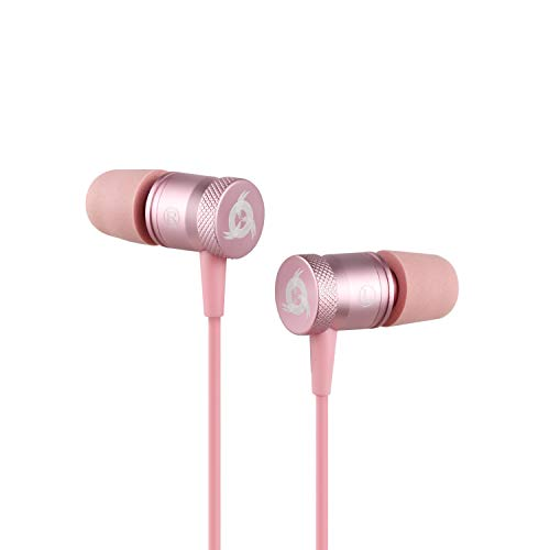 ⭐️KLIM Fusion Earbuds with Mic Audio - Long-Lasting Wired Ear Buds + 5 Years Warranty - Innovative: in-Ear with Memory Foam Earphones with Microphone - 3.5mm Jack - Earphone 2019 Version - Rose Gold