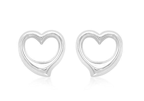 Boucles d'oreilles clous Cœur Or Blanc 9Carats