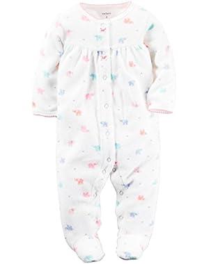 Baby Girls' Terry Sleep n Play Footie (Baby)