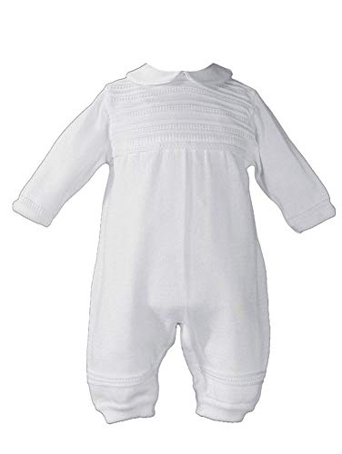 Little Things Mean A Lot Baby Boys White Cotton Knit Long Sleeve Rib Pattern Christening Coverall 24M ()