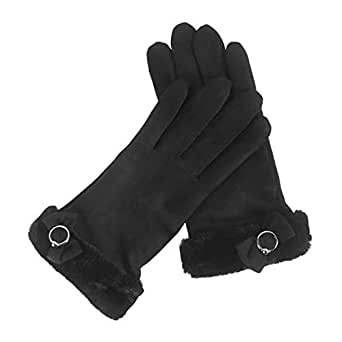 WUXiaodanDan Ladies Winter Gloves Riding Driving Gloves Touch Screen Plus Velvet Thick Gloves (Color : Black, Size : One size)