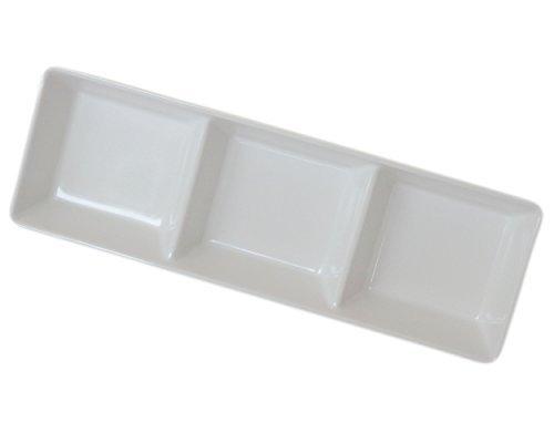 [(Set of 10) Amatahouse 3 Compartment Sauce Dish Sushi Wasabi Plates Soy Sauce Dipping Bowls FW/SW Melamine, Cream 7.5 inch] (Kikkoman Sauce Costume)