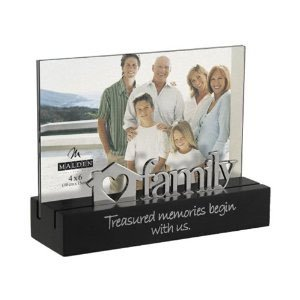 Designs Family Desktop Expressions with Silver Word Attachment Picture Frame, 4x6, Black ()