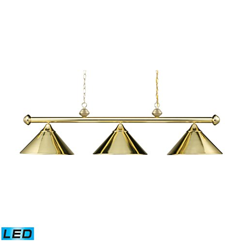 (Casual Traditions 3-Light Billiard/Island In Polished Brass With Metal Shades - LED, 800 Lumens (2400 Lumens Total) With Full Scale Dimming Range, 60 Watt (180 Watt Total)Equivalent , 120V Replaceable)
