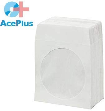 AcePlus 1000 CD Paper Sleeves White with Flap and Window 90gr Economy Weight