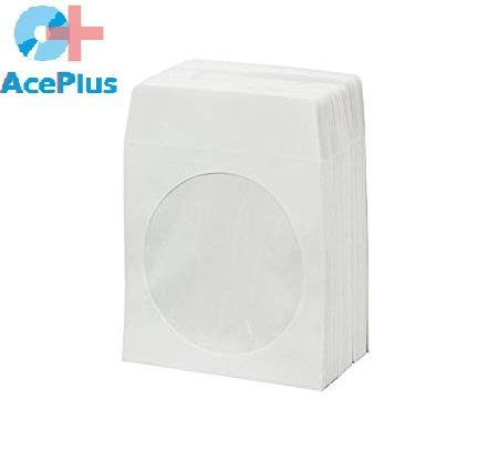1000 AcePlus 100g CD/DVD Paper Sleeves with Clear Window and Flap - - Paper Color Sleeve Window Cd