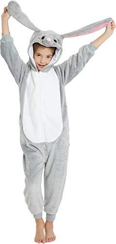 Girl Bunny Costume (Kids Onesie Pajamas Animal Christmas Halloween Cosplay Onesies Fleece Cartoon Animal Costume Long eared Bunny 140CM(Height)