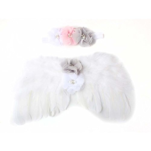 OVERMAL Baby Newborn Toddler Angel Wings Headband Hairband Flower Photography (White)