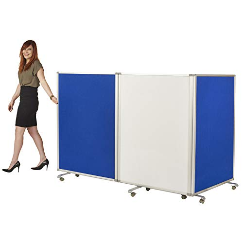 ECR4Kids Mobile Dry-Erase Room Divider & Partition, Double-Sided, Whiteboard & Flannel, 3-Panel (Room Dividers Classroom)