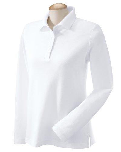 Pima Cotton Pique Polo Shirt (Devon & Jones Womens Pima Pique Long-Sleeve Polo (D110W) -WHITE -2XL)
