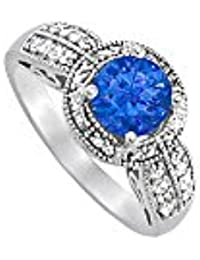 September Birthstone Sapphire and CZ Ring 2.00 TGW