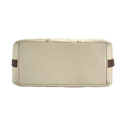Beige Florence 3021 Spalla Di Vera Borsa A Market Vitello marrone In Leather Sabrina Pelle 7qPwr7