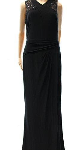 Lauren by Ralph Lauren Women's Sequin V-Neck Ball Gown Dress Black 6