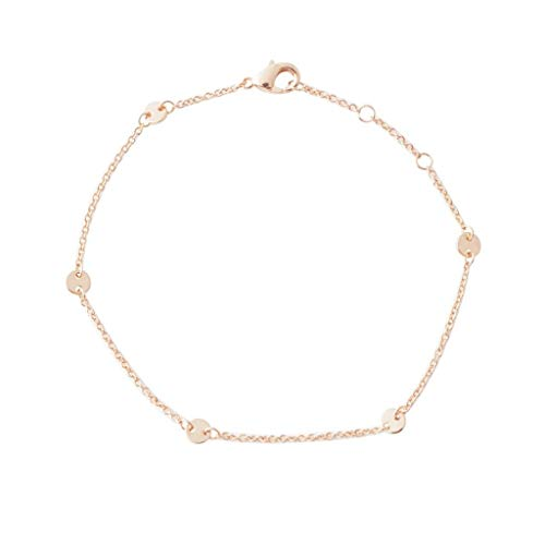 HONEYCAT Milky Way Disc Chain Bracelet in Gold, Rose Gold, or Silver | Minimalist, Delicate Jewelry (Rose Gold) (Rose Gold Chain Bracelet)