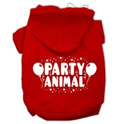 Mirage Pet Products 16'' Party Animal Screen Print Pet Hoodie, X-Large, Red
