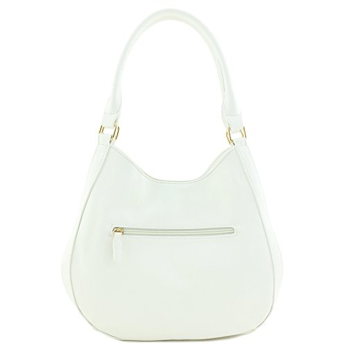 34a47a07 Light-weight 3 Compartment Faux Leather Medium Hobo Bag White by  FashionPuzzle (Image #