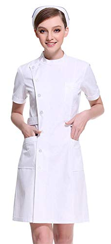 AvaCostume Women's Slanting Button Front Nurse Scrub Lab Dress, Whites S