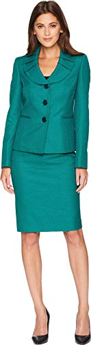 Le Suit Women's Jacquard Three-Button Skirt Suit Emerald Multi 16 by Le Suit
