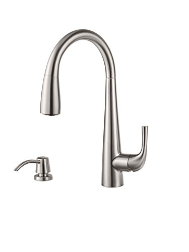 Pfister GT529-ALS Alea 1-Handle Pull-Down Kitchen Faucet with Soap Dispenser, Stainless Steel (Pfister Soap Price Chrome Dispenser)