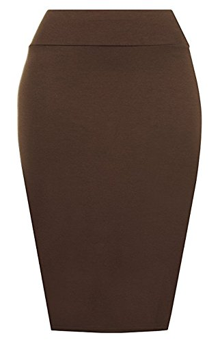 Bodycon 22 Womens tubo Misura Jersey Midi Plus a gonna Ladies gonna Chocolate Plain PrettyFashion matita 8 B8q6qv