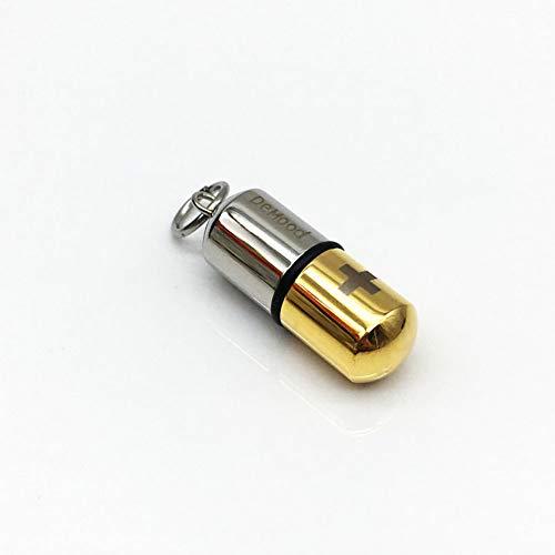 QYZLT Fashion Stainless Steel Pill-Shaped Perfume Bottle Pendant pet Casket Titanium Steel Pendant Animal Coffin Necklace,5