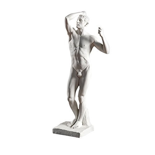 Design Toscano The Bronze Age Nude Male Statue 1877 by Artist Auguste Rodin 1840-1917, White