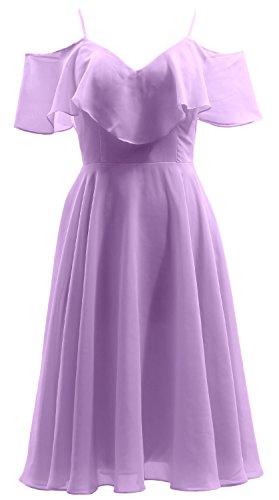 Neck MACloth Dress Party Formal V Chiffon Gown Ruffled Bidesmaid Wedding Lavendel Short xZrqZY1w