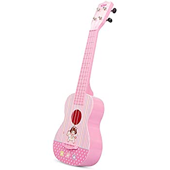 aPerfectLife Ukulele Guitar for Kids, 23 Inch Nylon-String Starter Classical Guitar for Beginner Children (Pink)