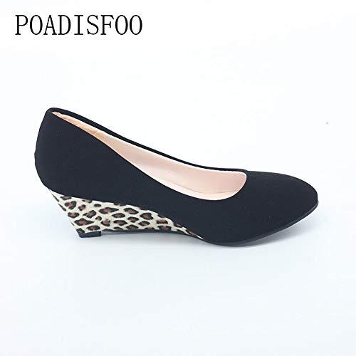 JingZhou Spring 2017 Womens Classic Pumps Shoes for Woman Wedges Heels Leopard Women .LSS-903
