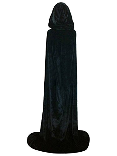 Cloak with Hood Costume Hooded Cape Crushed Velvet For Men Women (43 - 66inches) Black (Mens Cape)