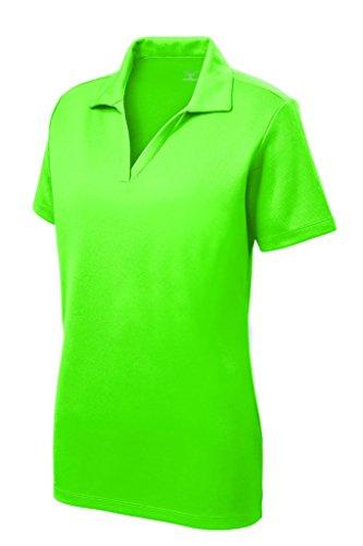 Womens Polo Top - Women's Dri-Equip Short Sleeve Racer Mesh Polo Shirt-L-Neongreen