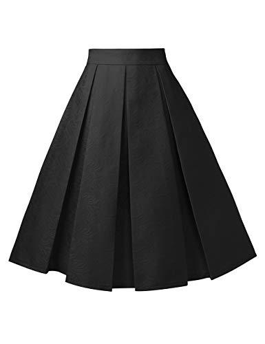 Femme Midi Vintage Line FASHION Imprime Taille Rtro DJT A Plisse Jupe Jupe Haute Noir C65xqRBwBZ