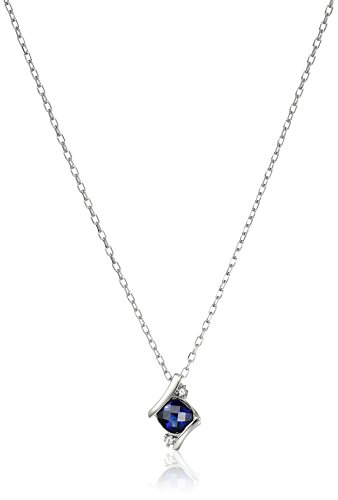 Created Sapphire Pendant (Sterling Silver Created Blue Sapphire Pendant Necklace, 18