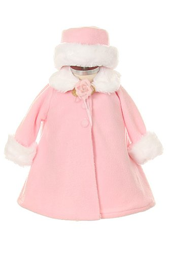 - Girl's Cozy Fleece Long Sleeve Cape Jacket Coat - Pink Infant L 12-18 Months