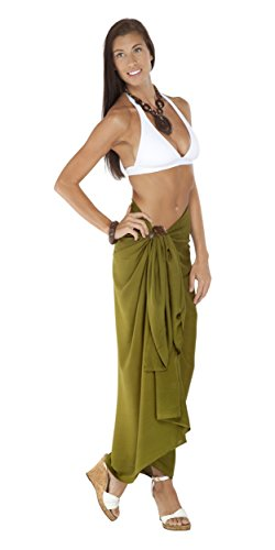 ELINA FASHION Sarongs Womens Faux Georgette Sexy Swimsuit Beach Bath Wrap Cover-up (Olive) (Green Georgette Suit)