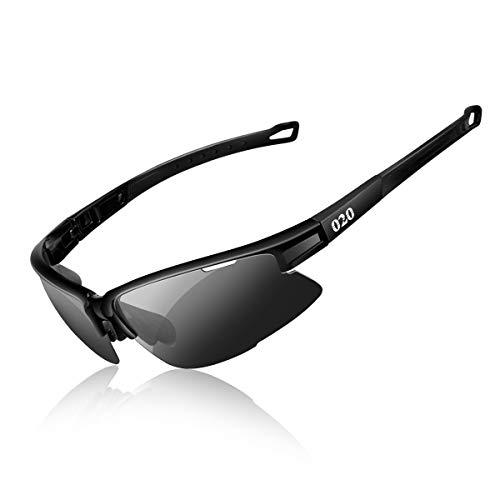 O2O [Polarized Sports Sunglasses [Tr90] Frame [One of The Lightest Sports Sunglasses] Only 0.044 Lb for Running Golf Driving Baseball Cycling Fishing Men Women Teens Youth (Black, Black) -