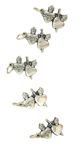 Lot of 5 Twin Hearts with Flame and Sword 3/4-inch Silver Plate Sacred Heart Medal