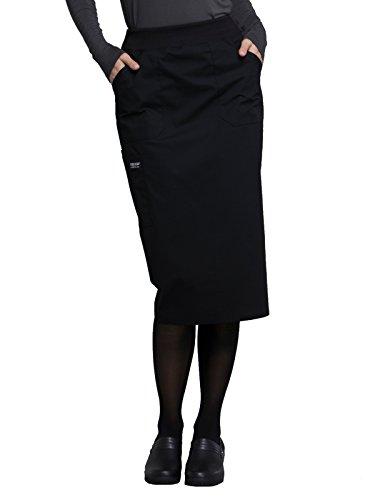 Long Cargo Skirt - Cherokee WW Professionals WW510 30 inch Knit Waistband Skirt Black XS