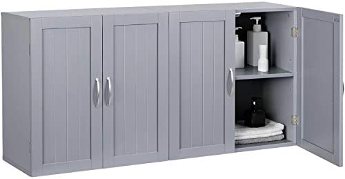 YAHEETECH Bathroom Medicine Cabinet, 2 Door Wall Mounted Storage Cabinet with Adjustable Shelf, 23.4in L x 12.2in W x 23.4in H, Dark Gray, Set of 2