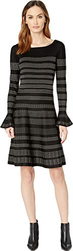 Taylor Printed - Taylor Dresses Women's Printed A-line Sweater Dress, Black Champagne, Medium