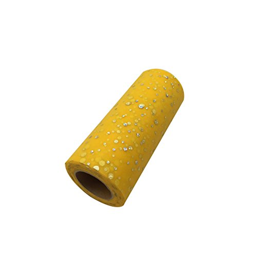 6 x 25 Yards Home Craft Glitter Tulle Roll Spool Table Runner Table Centerpieces Tutu Skirt for Wedding Baby Shower Festival Event Chair Table Decorations Jar Bouquet (Yellow)