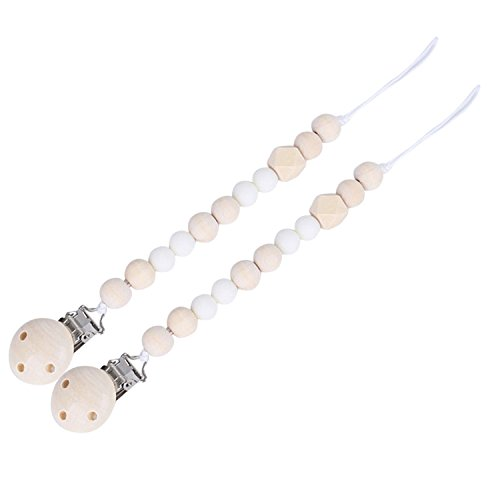 (Migavan Baby Pacifier Clip Baby Feeding Nipple Pacifier Clips Holder with Wooden Teething Beads Strap Chains Toys for Baby Boy Girl Toddlers White 2pcs)