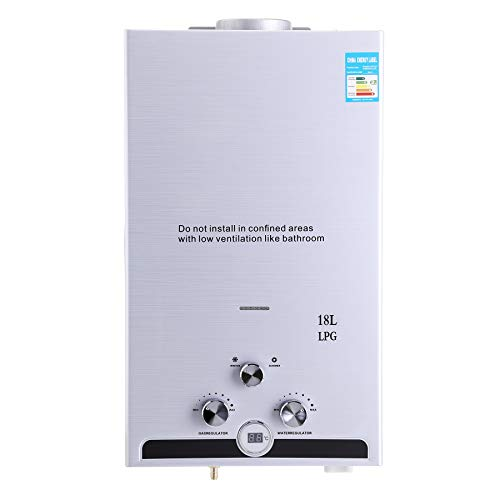Z ZELUS 18L Calentador de Agua LPG Calentador de Agua Instantaneo 36KW Calentador de Agua de Gas Licuado de Petroleo sin Tanque (18L)